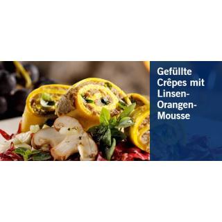 Gefüllte Crepes mit Linsen-Orangen Mousse