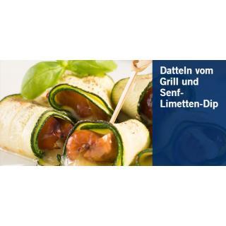 Datteln vom Grill und Senf- Limetten Dip